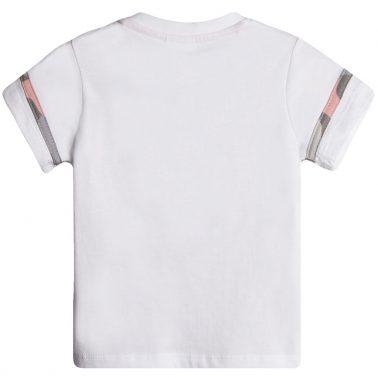 Тениска с надпис и цветен кант от Newness в бяло