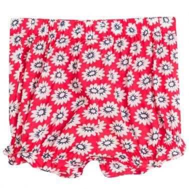 Къси панталонки на цветчета в червено с панделка от Newness