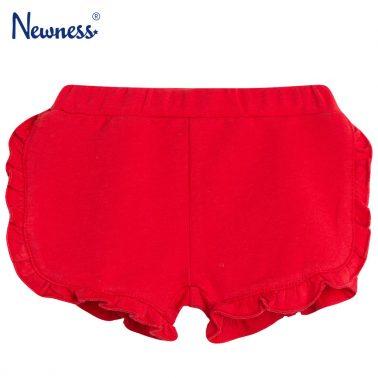 Трикотажни шорти с къдрички в червено от Newness