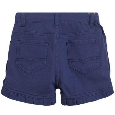 Текстилни къси панталонки Newness в синьо с къдрички