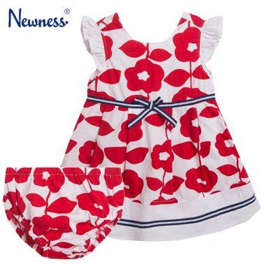 Рокля и гащи на червени цветя с къдрички от Newness
