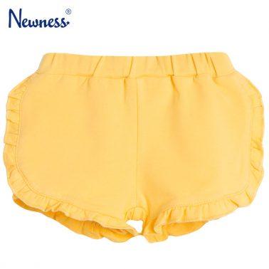 Трикотажни панталонки в жълто с къдрички от Newness