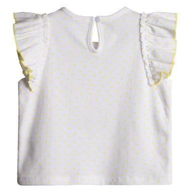 Тениска Newness в бяло на точки с декорация лимон от пайети
