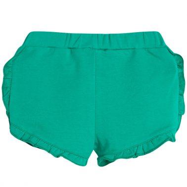 Трикотажни шорти в зелено с къдрички от Newness