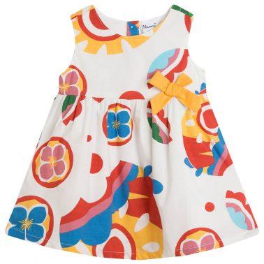 Сет Newness с рокля и гащи на цветя и кръгове в бяло
