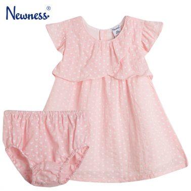 Сет рокля с гащи Newness в розово на сърчица