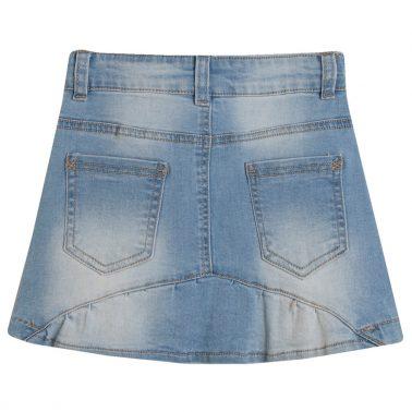 Дънкова пола с кръпки-бонбони от Newness в цвят деним