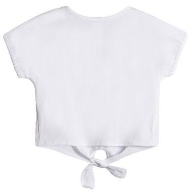Къса тениска с връзки и щампа аксесоари от Newness в бяло