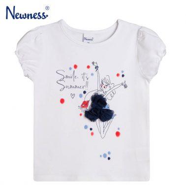 Тениска с буфан ръкав и щампа момиче от Newness бяла