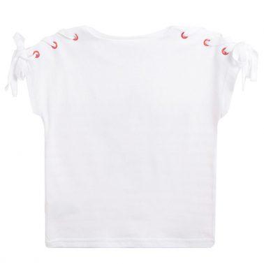 Тениска на райета с бляскава звезда от Newness в бяло