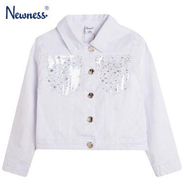 Дънково яке Newness в бяло с прозрачни джобове на звезди