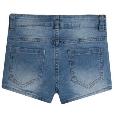 Дънкови панталонки с кръпки-плодчета от Newness в цвят деним