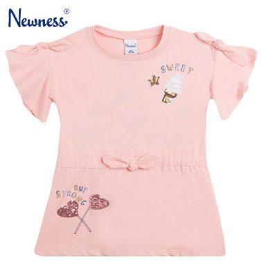 Розова рокля Newness с клош ръкав и сладолед от пайети