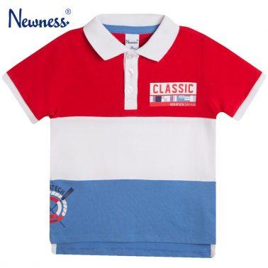 Блуза къс ръкав в червено с яка и цветни платки от Newness