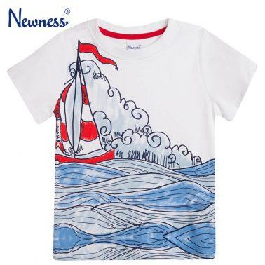 Тениска Newness в бяло с платноходка и вълни