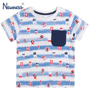 Тениска на сини райета с флагчета и джоб от Newness