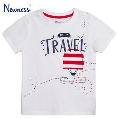 Тениска с бродиран надпис и балон от Newness бяла