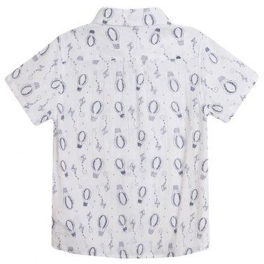 Риза къс ръкав с балони и хвърчила в бяло от Newness