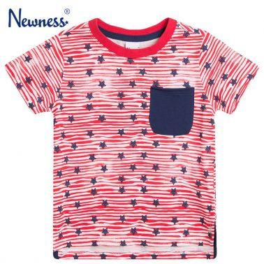 Тениска на червени райета със звезди и джоб от Newness