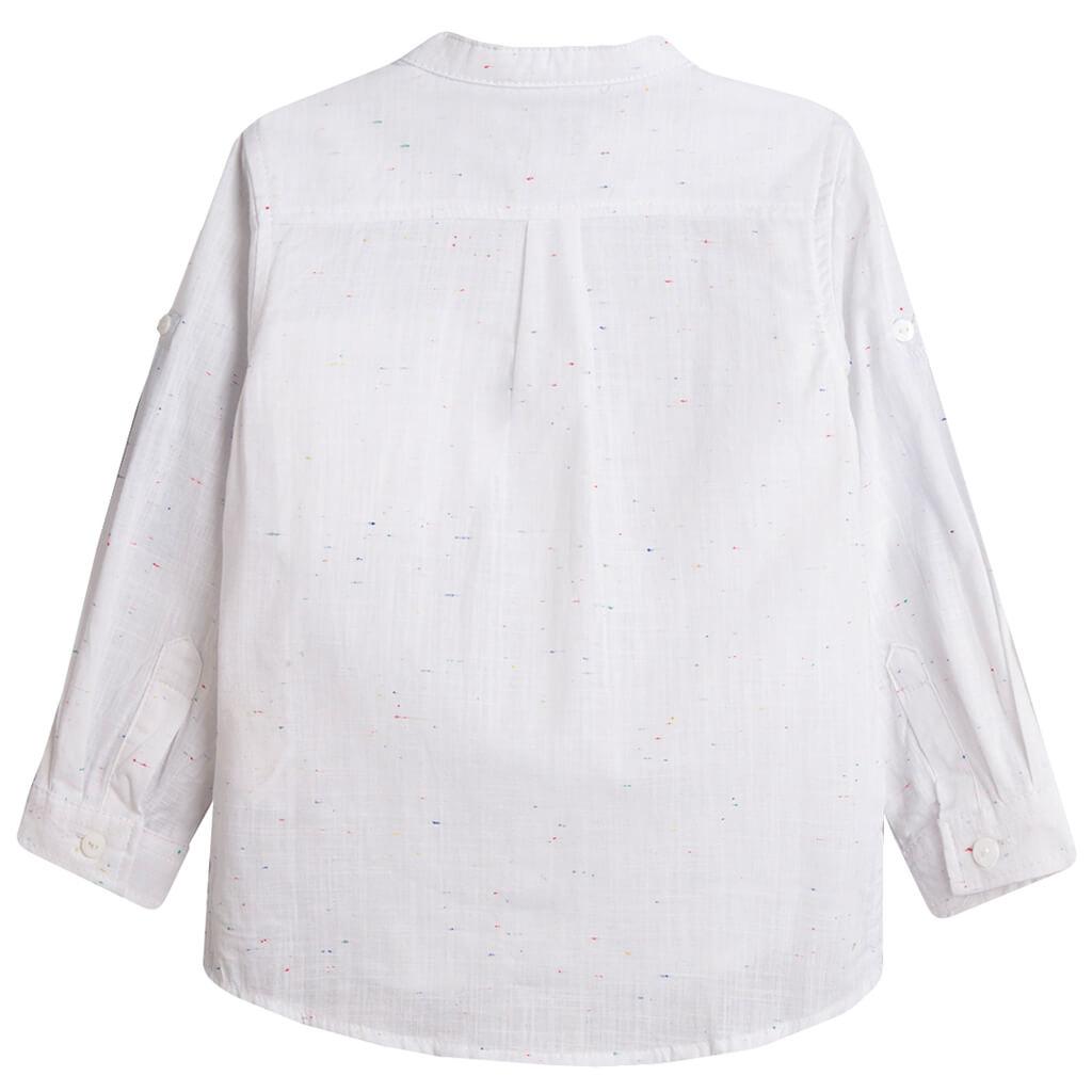 Риза със столче яка и цветни нишки от Newness бяла