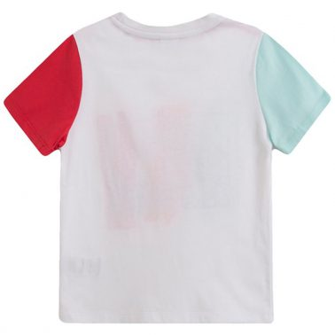 Тениска Newness в бяло с релефна вълна и цветни ръкави