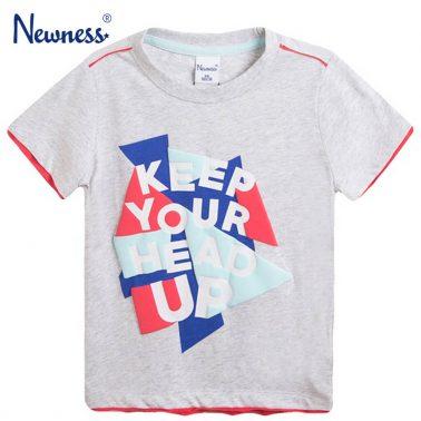 Тениска с цветна щампа и надпис от Newness сива