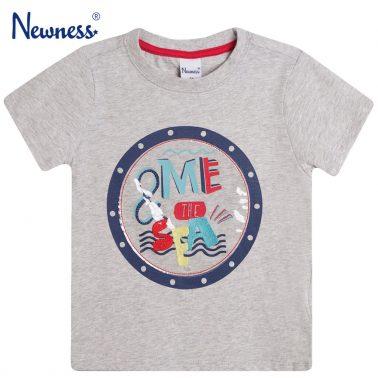 Тениска с надпис и прозрачна декорация от Newness сива