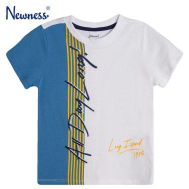 Тениска с цветна платка и бродиран надпис от Newness в бяло