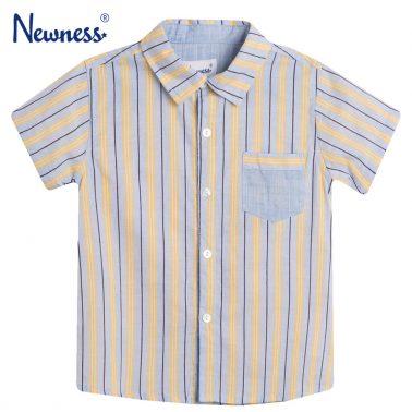 Риза къс ръкав на райета в синьо с джоб от Newness