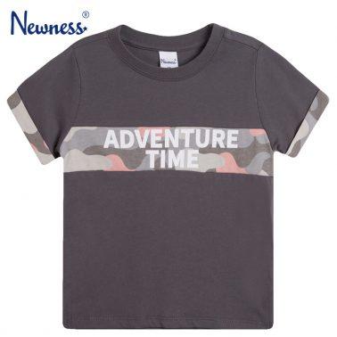 Сива тениска Newness с камуфлажна платка и маншети