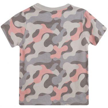 Камуфлажна тениска Newness в сиво с щампован надпис