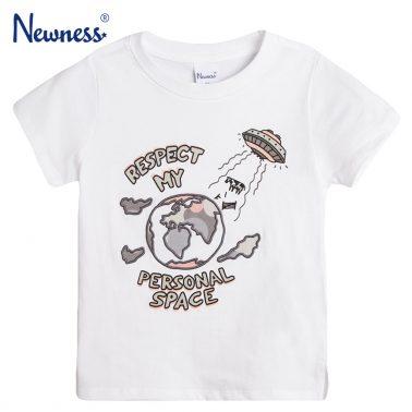 Тениска с бродирана планета Земя в бяло от Newness
