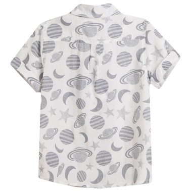 Риза къс ръкав в бяло на планети и звезди от Newness
