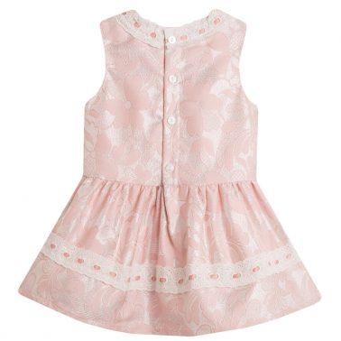 Елегантна рокля Newness от тафта в розово с ламе и панделки