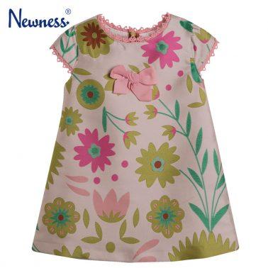 Празнична рокля Newness от флорална тафта в розово