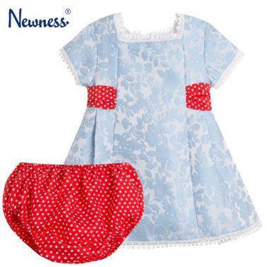 Луксозен сет Newness рокля от синя тафта с гащи на точки