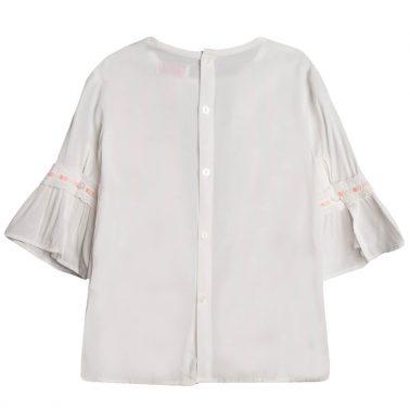 Елегантна риза Newness с 3/4 ръкав с волан и дантела в бяло