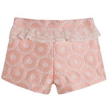 Елегантни текстилни панталонки Newness с релеф и дантела в розово