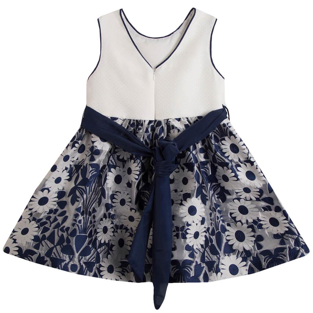 Празнична рокля Newness на маргаритки с колан в тъмно синьо