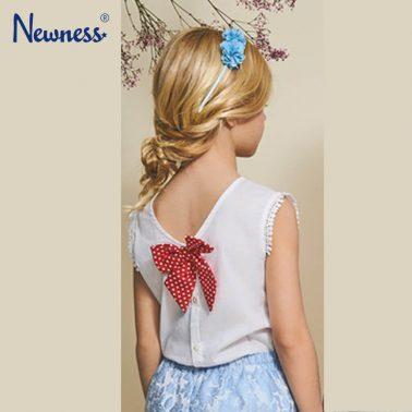 Луксозна блуза Newness без ръкав с къдри и панделка бяла