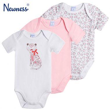 Сет три бодита Newness с щампа леопард и лапи в бяло и розово