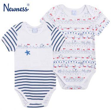 Сет две бодита Newness с морски щампи в бяло и синьо