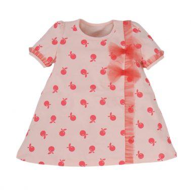 Сет рокля с гащи на ябълки в розово с къдри от тюл