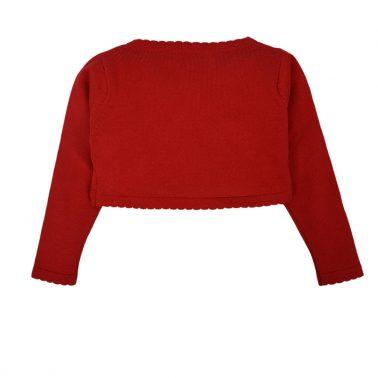 Елегантно болеро Точици от фино плетиво в червено