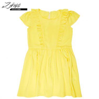 Ефирна жълта рокля с къдри и крилце ръкави