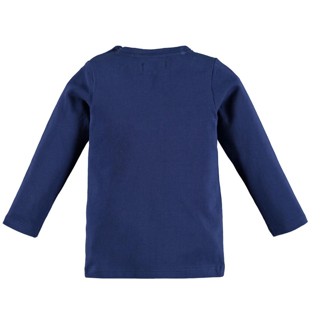 Блуза с гумен надпис от Pebble Stone в тъмно синьо