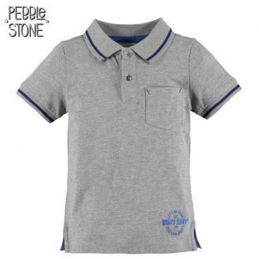 Тениска с яка и късо закопчаване от Pebble Stone сива