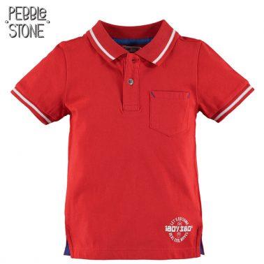 Тениска с яка и късо закопчаване от Pebble Stone червена