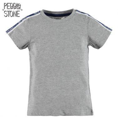Тениска Pebble Stone в сиво с цветни ленти на рамената