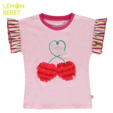 Тениска Lemon Beret с черешки и цветни ръкави в розово